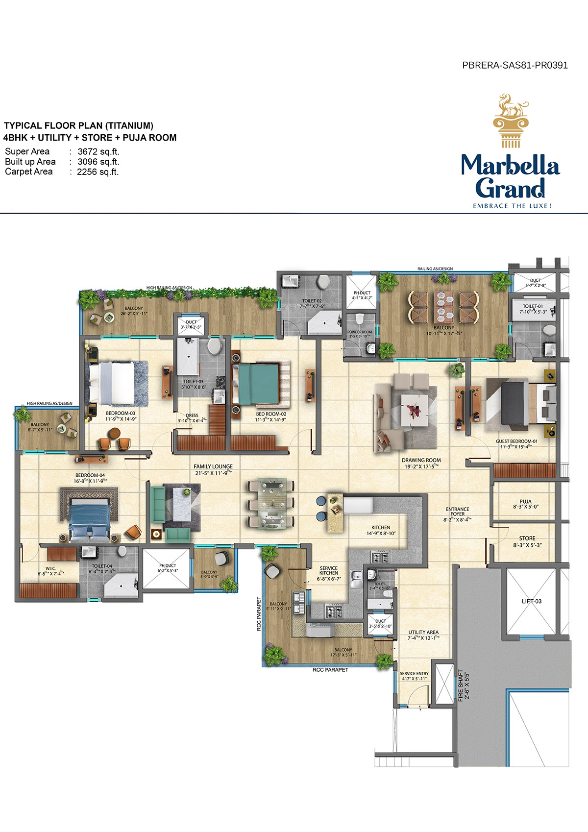 4BHK + UTILITY + TYPICAL FLOOR PLAN