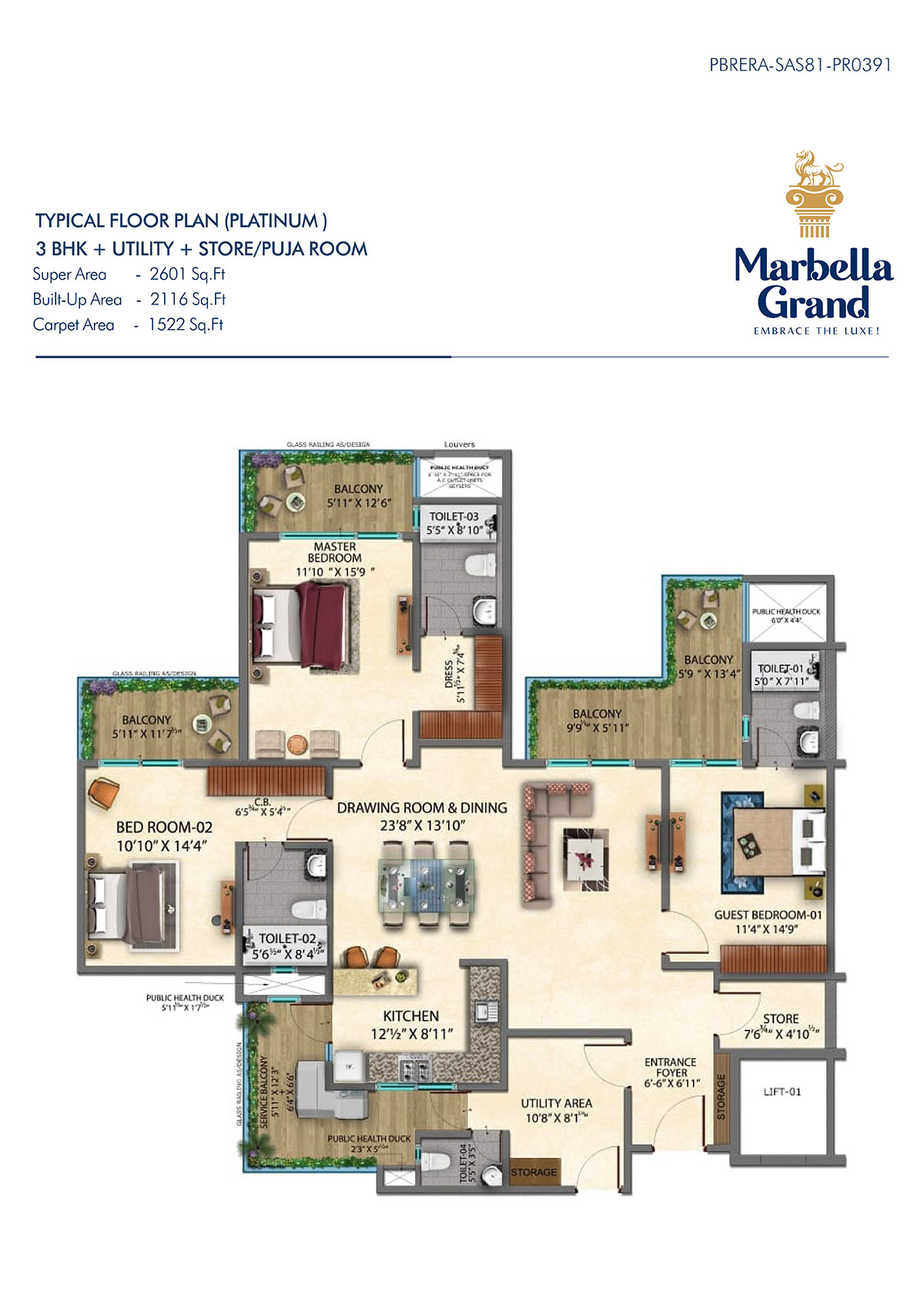 3BHK + STORE/PUJA ROOM - TYPICAL FLOOR PLAN