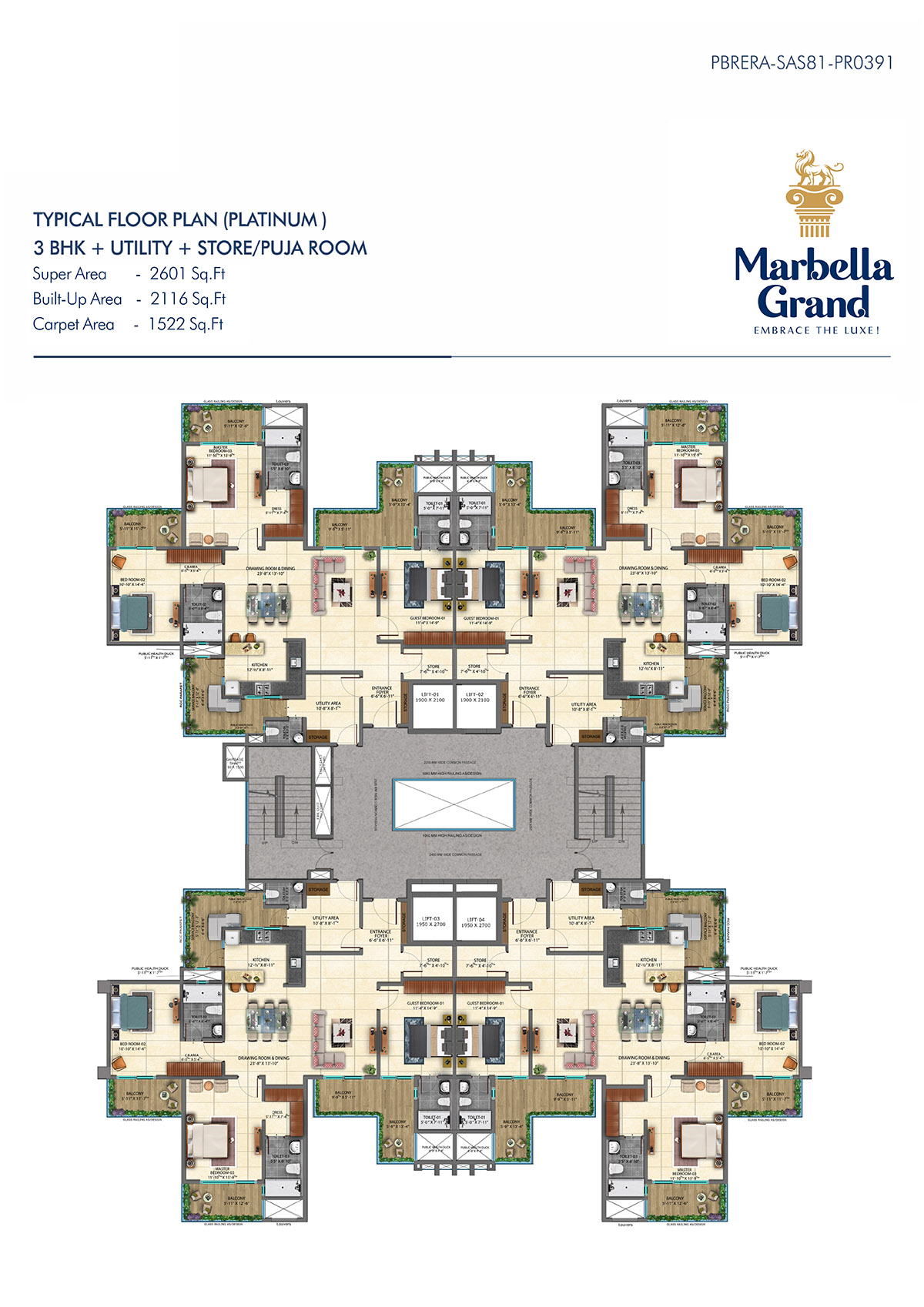 3BHK + UTILITY + TYPICAL FLOOR PLAN
